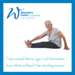 Older lady stretching, with quotation and logo